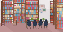 Modern Library Interior Empty No People Bookstore With Bookshelves Round Table And Chairs Flat Horizontal Banner
