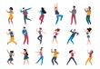 Dancing people. Trendy party cartoon crowd, modern young dancing characters, friends couples and happy persons. Vector illustrations club party dance