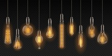 Realistic Light Bulbs. Vintage Lamps Hanging On Wires, Decoration Glowing Retro Objects. Vector Design Lighting Incandescent Filament Lamps Set On Transparent Background