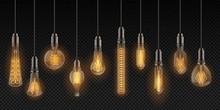 Realistic Light Bulbs. Vintage...