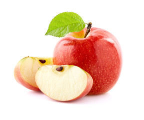 Ripe apple with slices on w...