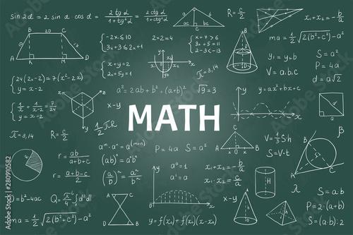Fototapeta Doodle math blackboard
