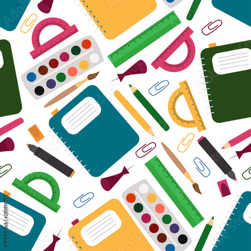 seamless pattern with school supplies - vector illustration, eps Wall mural