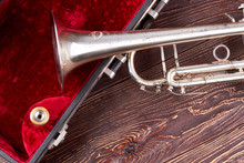 Old Classical Trumpet And Velv...