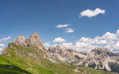Beautiful Alps with green mountain hill under sky