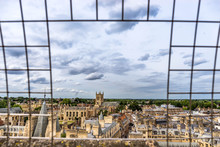 Panorama Of The City Cambridge From The Observation Tower Of St.Mary's Church. Picture Took Through Bars.