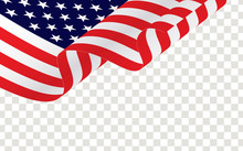 Waving American Flag Isolated On Transparent.  American Or USA Waving Flag, Vector.