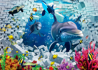 Panel Szklany Podświetlane Delfin 3d illustration wallpaper under sea dolphin, Fish, Tortoise, Coral reefsand water with broken wall bricks background. will visually expand the space in a small room, bring more light and become an ac