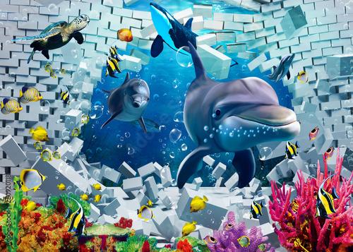 Obraz 3d ilustracyjna fototapeta z delfinem, rybami i rafą koralową - fototapety do salonu