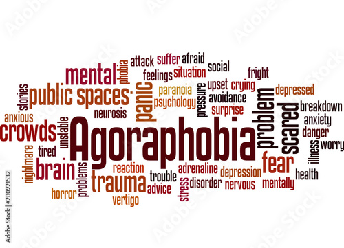 Photo Agoraphobia fear of public spaces or crowds word cloud concept