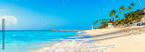 Tropical beach in Dominican Republic. Coconut Palm trees on white sandy beach.