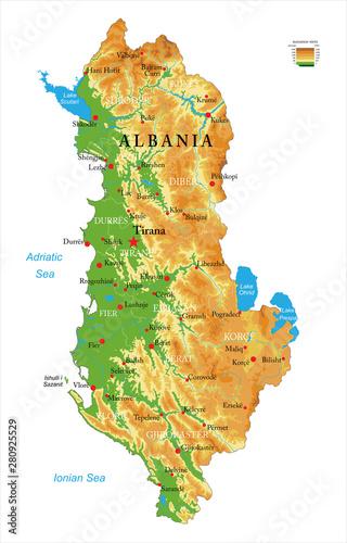 Fotografie, Obraz  Albania physical map