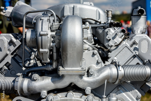 Modern car engine closeup. Fragment of car engine Canvas Print