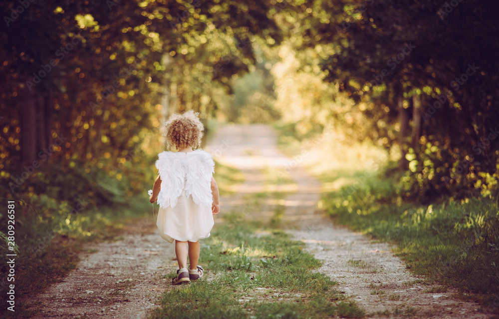 Fototapety, obrazy: Super cute anonymous blonde curly hair girl child wearing white dress and angel wings, walking on countryside road. Backside view. Concept of child angel.