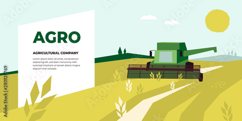 Canvas Print Vector illustration of Agriculture with Combine Harvester working in field