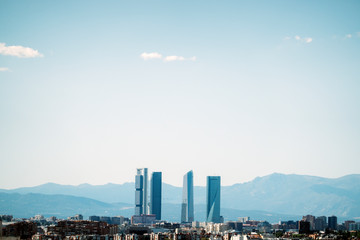 Landscape of the city of Madrid Spain and in the background the four towers.