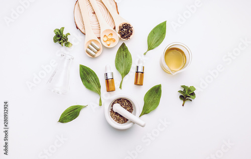 Fotobehang Apotheek herb medicine with herbal the organic natural in the laboratory. oil capsule, natural organic.food nutrition healthy and wellness.