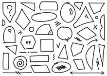 Mixed Geometric Shapes. Hand Drawing Geometric Shapes