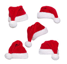 Set Of Santa Hats Of Different Shape Isolated On White Ready For Collage