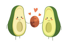 Avocado Couple In Love. Two Avocado Halves Holding Two Pieces Of Jigsaw Connecting Couple Puzzle. Valentine Day Vector Cartoon Fruit Character With Hearts Isolated On White Background. Kawaii Style