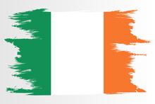 Ireland Flag. Brush Painted Ireland Flag. Hand Drawn Style Illustration With A Grunge Effect And Watercolor. Ireland Flag With Grunge Texture. Vector Illustration.