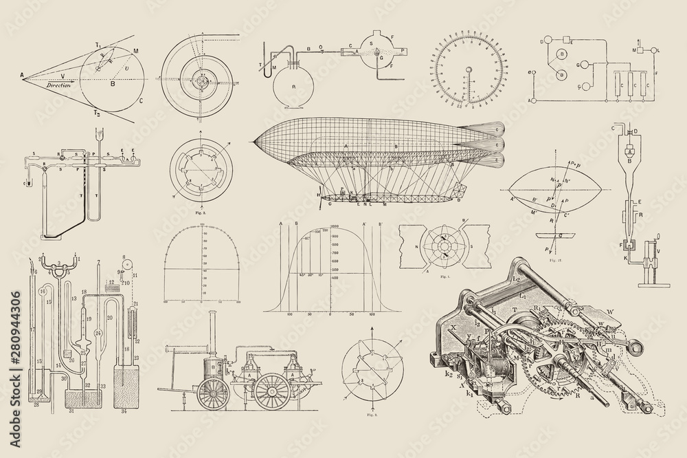 Fototapety, obrazy: large collection of vector steampunk design elements: graphs, charts and construction drawings for dirigibles and various machines