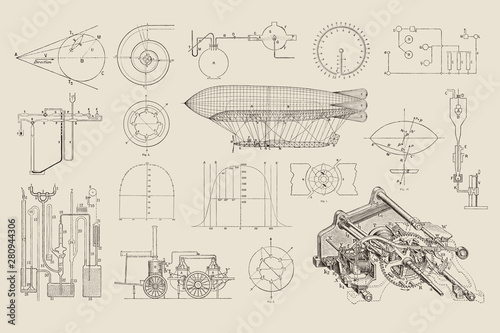 large collection of vector steampunk design elements: graphs, charts and constru Canvas Print
