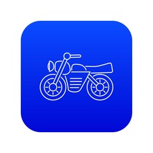 Motorcycle Icon Blue Vector Isolated On White Background