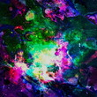 Colorful Watercolor Abstract background. Multicolor grunge psychedelic pink green texture with spots. Multicolor style digital painting. Blurred chaotic brush tie dye pattern. Hand painting fabrics