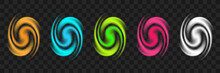 Cartoon Vortex Portal. Vector Twisted Galaxy. Teleport Set.