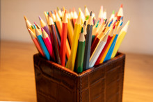 Selection Of Colored Sharpened Pencils Standing Upright In A Box