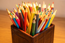 Variety Of Colored Sharpened Pencils Standing Upright In A Box