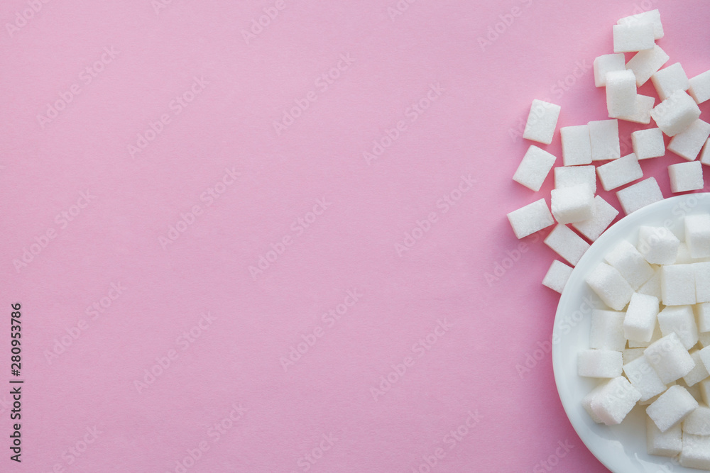 Fototapety, obrazy: sugar cubes on pink background, flat layout, top view