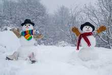 Passion Dating And Love. Two Snowman On Snow Background. Winter Scene With Snowman On White Snow Background. Sensual Snowman Couple Enjoying Intimacy.
