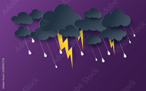 Scenery Mystical Night sky fantasy background.Dark Cloudscape natural in rain season.Moonlight at night.Creative design digital paper cut and art style.thunderstorm midnight.Vector .illustration.EPS10