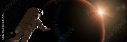 Valokuvatapetti astronaut watching the sunrise during a space walk in orbit of planet Mars