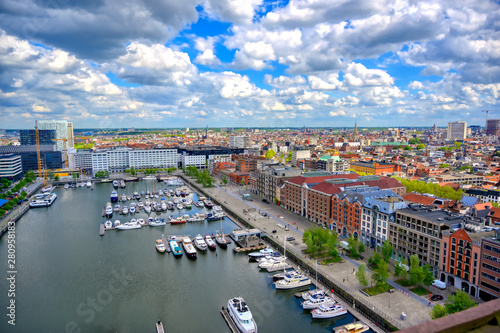 An aerial view of the port and docks in Antwerp (Antwerpen), Belgium.