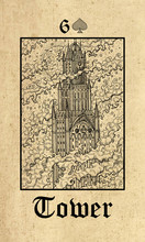Tower. Tarot Card From Lenormand Gothic Mysteries Oracle Deck.
