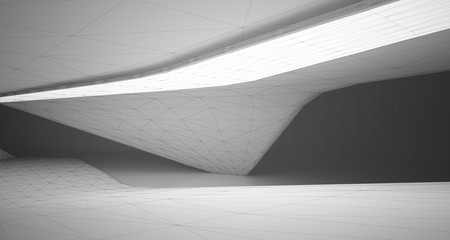 Drawing abstract architectural white interior of a minimalist house with large windows. Neon lighting.3D illustration and rendering.