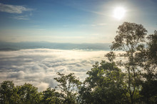 Viewpoint Sea Of Misting, Beautiful Mountain View With Fog, Sunrise Scene, Sunrise Scene, Doi Samer Dao. Sri Nan National Park, Nan Province, Thailand.