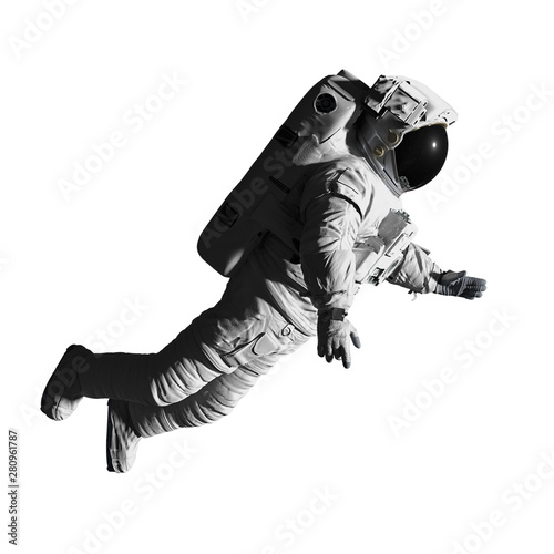 astronaut performing a space walk, isolated on white background Poster Mural XXL