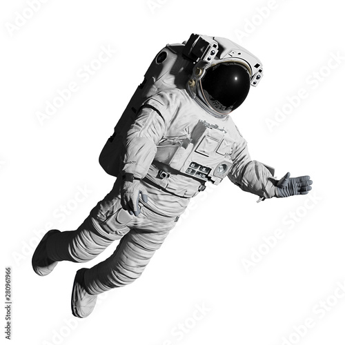 astronaut during space walk, isolated on white background Fotobehang