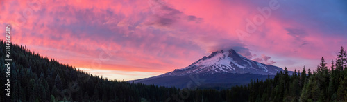 Fotobehang Candy roze Beautiful Panoramic Landscape View of Mt Hood during a dramatic cloudy sunset. Taken from Trillium Lake, Mt. Hood National Forest, Oregon, United States of America.