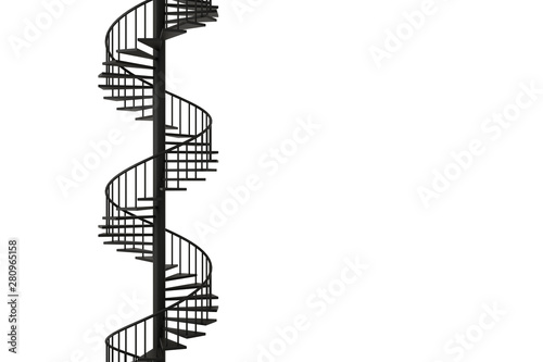 Valokuva  Spiral staircase with minimal concepts, 3D rendering.