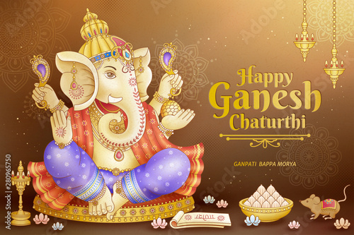 Cuadros en Lienzo Happy Ganesh Chaturthi design