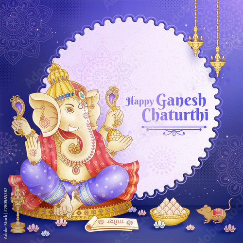 Happy Ganesh Chaturthi design Wallpaper Mural