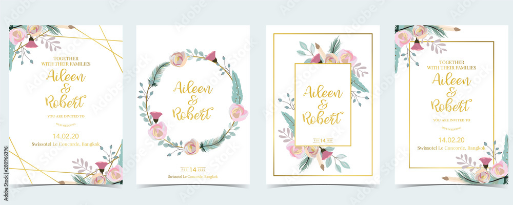 Fototapeta Pink green geometry wedding invitation with cactus and leaves.Vector birthday invitation for kid and baby.Editable element