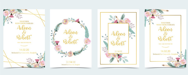 Pink green geometry wedding invitation with cactus and leaves.Vector birthday invitation for kid and baby.Editable element