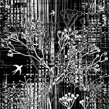 Abstract Collage With Silhouette Of Birds And Trees On Grunge Striped Background