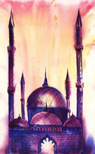 Violet-blue Silhouette Of A Mosque With Four Minarets And Four Domes Against A Red-yellow Glow. Sunrise Sunset Or Fire. Gradient. Hand-drawn Watercolor Illustration On Wet Paper.